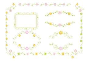 Rosa und grüner Blumenverzierungs-Vektor-Satz vektor