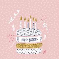 grattis på födelsedagen hälsningskortdesign med tårta och ljus vektor