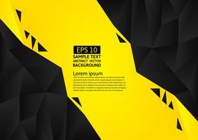 Modernes Design des schwarzen und gelben Farbpolygonzusammenfassungs-Hintergrundes, Vektorillustration mit Kopienraum