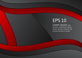 Abstrakter roter und schwarzer geometrischer Hintergrund mit Kopienraum, Vektorillustration eps10