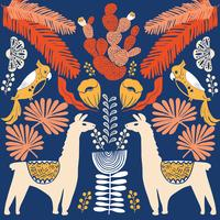 Abbildung mit Lama und Kaktuspflanzen. Vektornahtloses Muster auf botanischem Hintergrund. Grußkarte mit Alpaka.