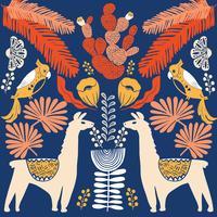 Illustration med lama och kaktus växter. Vektor sömlösa mönster på botanisk bakgrund. Hälsningskort med Alpaca.