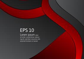 Abstrakter roter und schwarzer geometrischer Hintergrund mit Kopienraum, Vektorillustration