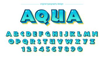 Glänzende blaue Comics-Typografie