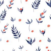 akvarellblommor mönster sömlösa blå och röda färger vektor