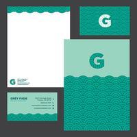 Färgrik grön vågor affärs brevpapper mall