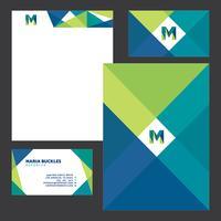 Blå grön affärs brevpapper mall