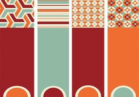 Retro Patterned Banner Vektor Pack