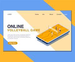 Barn som spelar online Volley Ball Game Isometric Artwork Concept.