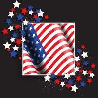 Unabhängigkeitstaghintergrund am 4. Juli mit amerikanischer Flagge und Sternen vektor