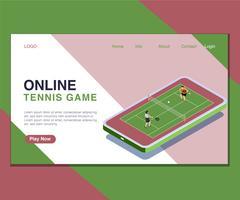 Kinder, die on-line-Tennisball-Spiel-isometrisches Grafik-Konzept spielen.