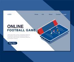 Barn Spelar Online Fotboll Spel Isometrisk Konstkoncept.