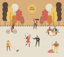 Herbst Hintergrund Park Menschen. vektor