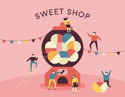 söt butik godis maskin och små människor.