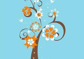 Funky Blumenbaum-Vektor