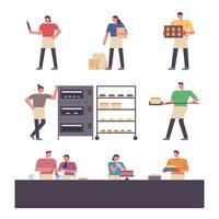Leute arbeiten in der Bäckerei. vektor