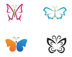 Butterfly skönhetslogotyp enkel, färgstark ikon. Logotyp. Vektor illustration