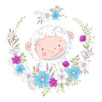 Tecknad illustration av en söt får i en krans av blått och lila blommor. Vektor illustration i handen rita