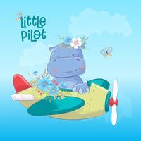 Tecknad illustration av en söt flodhäst på ett flygplan. Vektor illustration