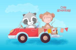 Tecknad illustration av en söt tvättbjörn och apa på en lastbil. Vektor illustration