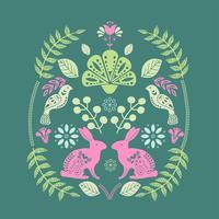 Skandinaviskt folkkonsttrycksmönster med kaniner och blommor