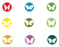 Butterfly konceptuell enkel, färgstark ikon. Logotyp. Vektor illustration