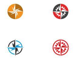 Kompasslogo und Symbolschablonenikonen-Vektorbild