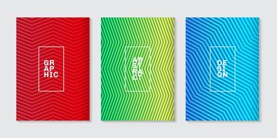 Set av bakgrund minimal täcker design abstrakt cool halftone gradient linjemönster. Framtida geometrisk mall.