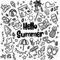 Handgezeichnete Sommer Strand Kritzeleien isoliert Vektor Symbole und Objekte Icon Set auf Tafel.