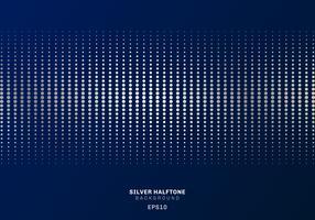 Abstrakt silver prickar mönster halvton på mörkblå bakgrund lyxig stil. vektor