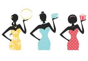 Fashionista kvinnor siluett vektor pack