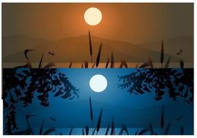 Weizen und Berg Sonnenuntergang Hintergründe