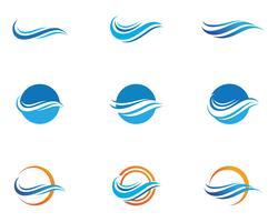 Vattenvågssymbol och ikon Logo Mallvectors