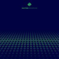 Sammanfattning teknik halvtons grön gräns cirklar perspektiv på blå bakgrund med kopia utrymme.