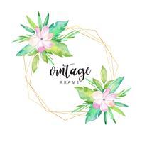 Akvarell tropisk blommig ram