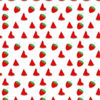 Vattenmelon och jordgubb sömlösa mönster design på vit bakgrund, vektor illustration