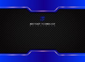 Mall blå och svart kontrast abstrakt teknik bakgrund. vektor