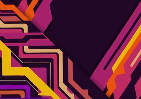 Mehrfarbiges abstraktes geometrisches auf purpurrotem Hintergrund mit Kopienraum, Vektorillustration