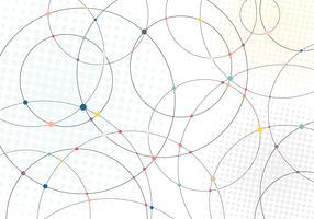 Abstrakta linjekretsar och mångfärgade prickar med radiell halvtonstextur på vit bakgrund.