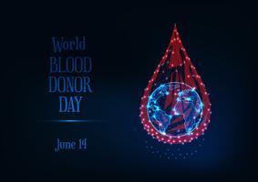 Världsblodgivare dag webb banner med glödande låg poly blod droppe och planet jordklot och text.