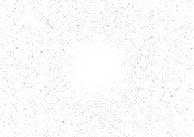 Geometrische Kreiszusammenfassung des grauen Vektors auf weißem Hintergrund. Gepunktete Textur-Muster im Halbton-Stil