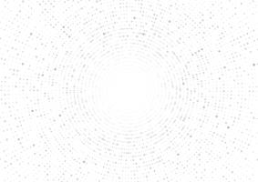 Grå vektor geometrisk cirkel abstrakt på vit bakgrund. Prickigt konsistensmönster i halvtonstil