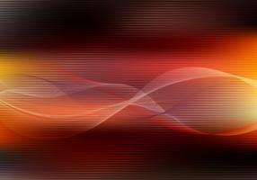 Rotes und gelbes Farblicht der abstrakten Energie horizontal auf dunklem Hintergrund mit Linien Wellenkurve. Technologiekonzept.