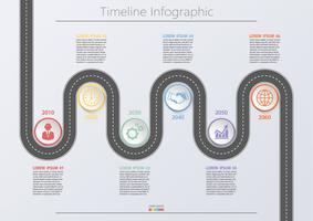 Business road map. Tidslinje infografiska ikoner avsedda för abstrakt bakgrundsmall