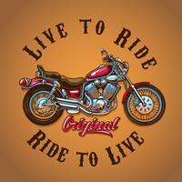 Motorcykel Live to Ride för t-shirt print vektor