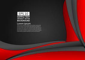 Rote und schwarze Farbgeometrischer abstrakter Hintergrund mit Kopienraum für Ihr Geschäft, Vektorillustration