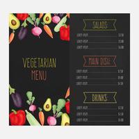 Restaurangmeny med akvarellgrönsaker vektor