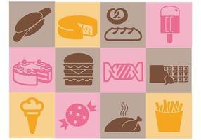 Verschiedene Lebensmittel Vektor Icons Pack