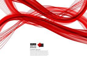 Modernes Design des roten abstrakten Wellenhintergrundes mit Kopienraum, Vektorillustration für Ihr Geschäft
