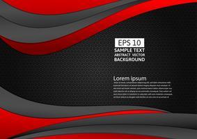 Geometrischer abstrakter Hintergrund der schwarzen und roten Farbe mit Kopienraum für Ihr Geschäft, Vektorillustration